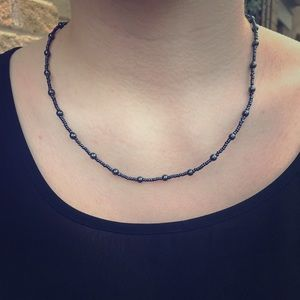 """Jewelry - Black glass beaded necklace approx 19"""""""